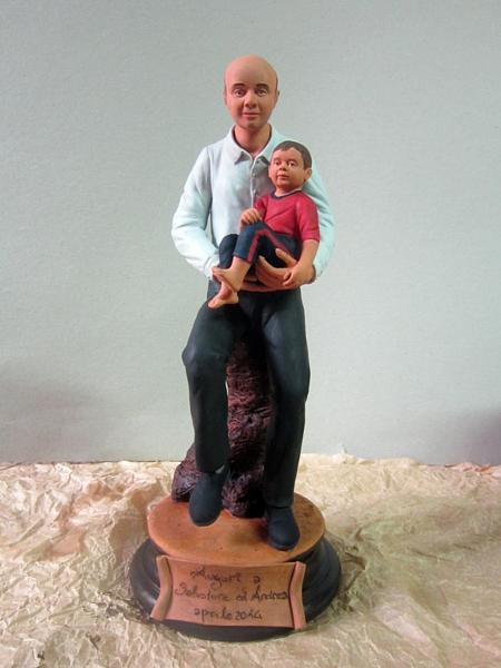 Statua personalizzata in terracotta policroma 30cm
