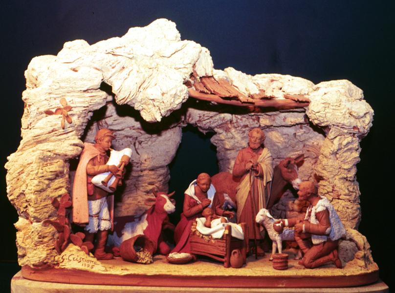 Presepe con grotta in terracotta